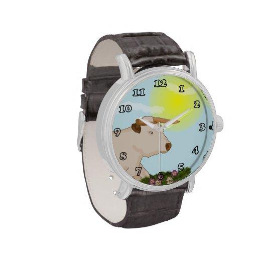 Reloj perezoso de la correa del vintage de la vaca