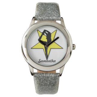 Reloj personalizado animadora amarilla