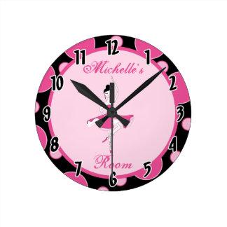 Reloj personalizado ballet rosado de la danza de