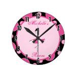 Reloj personalizado ballet rosado de la danza de l