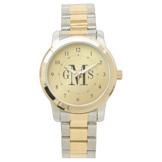 Reloj personalizado con clase del monograma de los