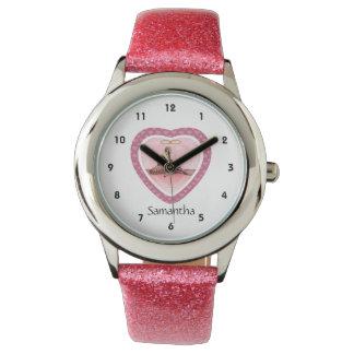 Reloj personalizado corazón rosado del bailarín de