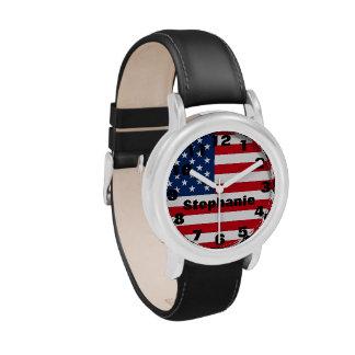 Reloj personalizado de la bandera americana del ni