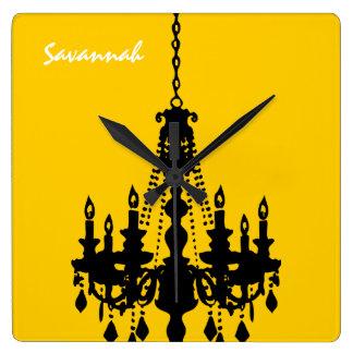 Reloj personalizado de la lámpara del amarillo de