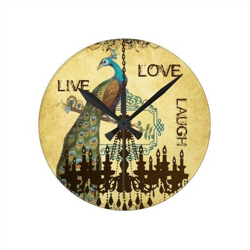 Reloj personalizado de la lámpara del pavo real