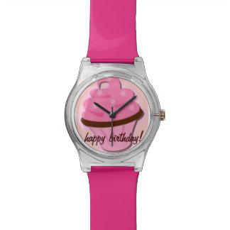 Reloj personalizado de la magdalena del rosa del f