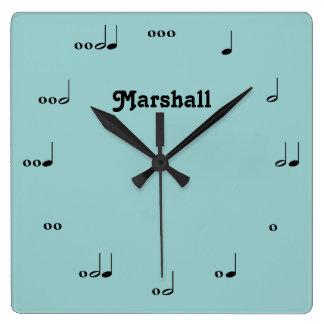 Reloj personalizado de la nota de la música