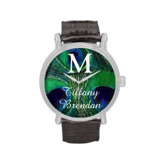 Reloj personalizado de la pluma del pavo real del