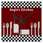 Reloj personalizado de los utensilios de la cocina