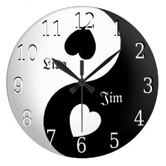 Reloj personalizado del amor de Yin Yang