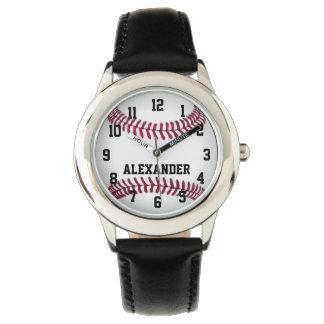 Reloj personalizado del béisbol de los muchachos
