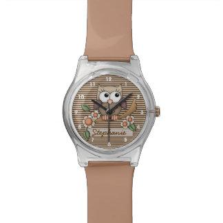 Reloj personalizado del búho de Brown