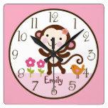 Reloj personalizado del cuarto de niños del mono d