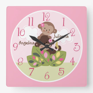 Reloj personalizado del mono de la pequeña hermana