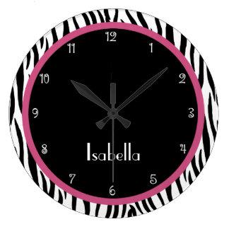 Reloj personalizado del negro, del rosa y del esta