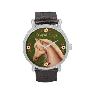 Reloj personalizado del Palomino y del caballo de
