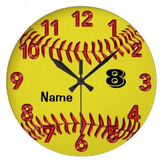 Reloj personalizado del softball con NÚMERO y