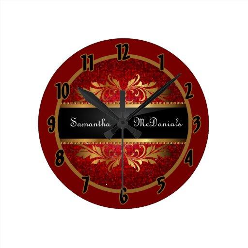 Reloj personalizado disco rojo de la lentejuela de