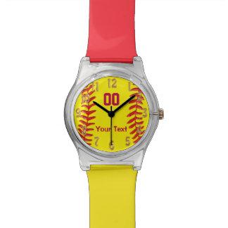 Reloj personalizado diversión del softball para