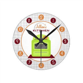 Reloj personalizado estufa verde retra de la cocin