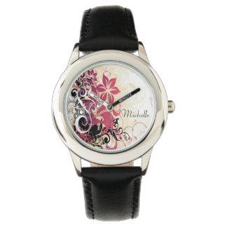 Reloj personalizado/flores del acero inoxidable