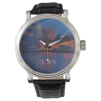 Reloj personalizado luces azules