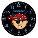 Reloj personalizado pirata Scowling del muchacho c