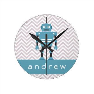 Reloj personalizado robot azul de los muchachos