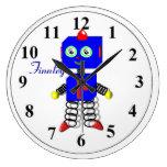 Reloj personalizado robot azul lindo del sitio de