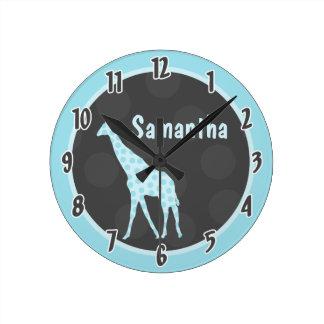 Reloj personalizado selva azul de la jirafa del lu