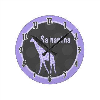Reloj personalizado selva púrpura de la jirafa del