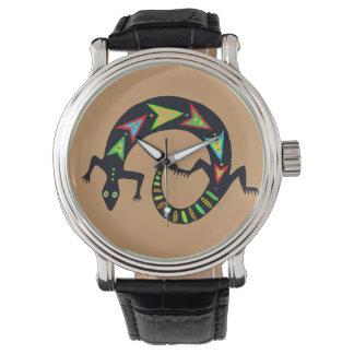 Reloj pintado del lagarto