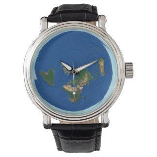 Reloj plano de la tierra del mapa del mundo