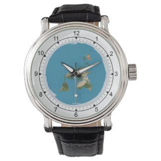 Reloj plano del mapa de la tierra