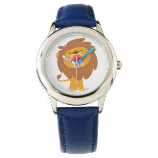 Reloj poderoso lindo del dibujo animado del león