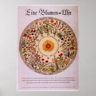 Reloj   Poster2 de la flor de Blumenuhr Póster