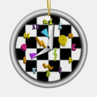 Reloj posterior adorno navideño redondo de cerámica