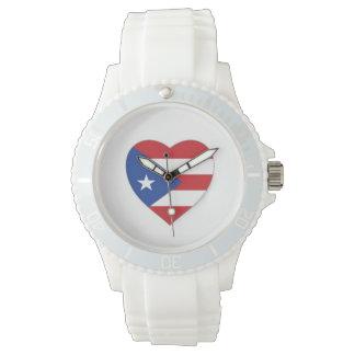 reloj puertorriqueño de la bandera del corazón