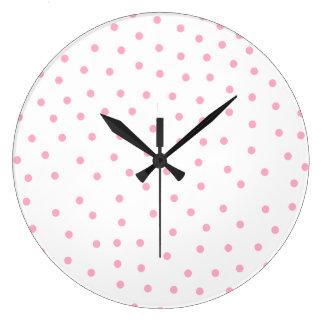 Reloj punteado polca rosada