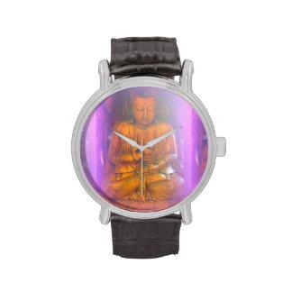 reloj púrpura de Buda de la aureola