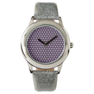 Reloj púrpura de la correa del brillo del relevo
