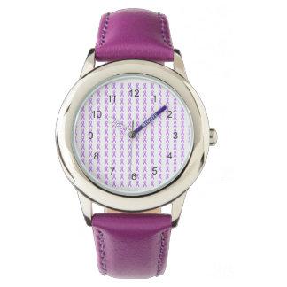 Reloj púrpura de las cintas