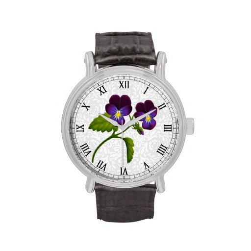 Reloj púrpura de las flores del pensamiento del ja