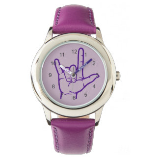 Reloj púrpura del ASL te amo