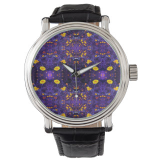 reloj púrpura del estampado de plores fresco