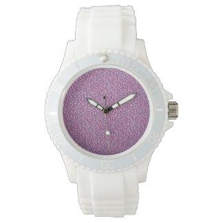 Reloj púrpura del estampado leopardo