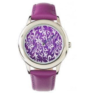 Reloj púrpura lindo del brillo para los