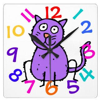 Reloj púrpura lindo del diseño del gato para el si