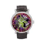 Reloj púrpura verde rojo de la esfera abstracta de