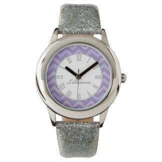 Reloj púrpura y gris de Chevron de la impresión